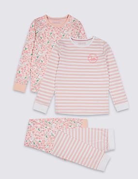 2 Pack Cotton Pyjamas with Stretch (3-16 Years)