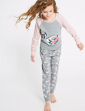 Swan Pyjamas (3-16 Years), SOFT PINK, catlanding
