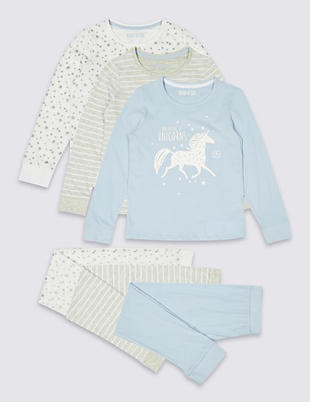 3 Pack Unicorn Pyjamas (3-16 Years)