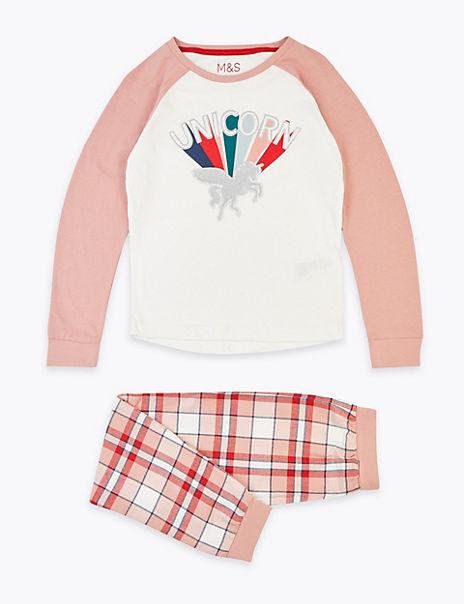 Cotton Rainbow & Glitter Unicorn Pyjama Set (3-16 Years)