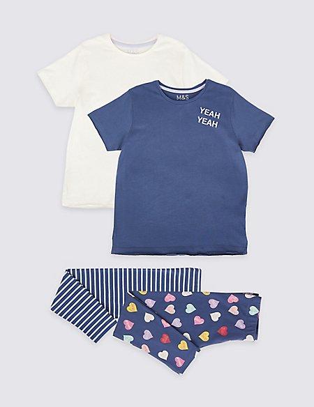 2 Pack Cotton Rich Pyjamas (3-16 Years)