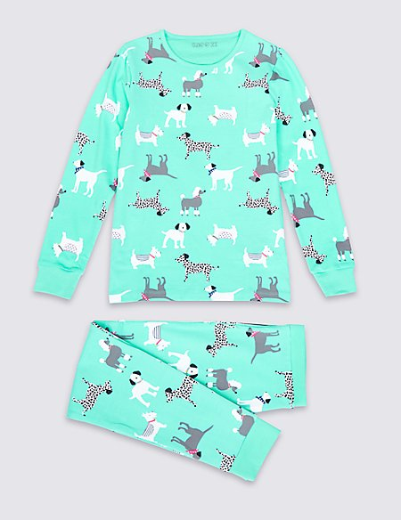 Cotton Rich Pull on Dog Print Pyjamas (1-16 years)