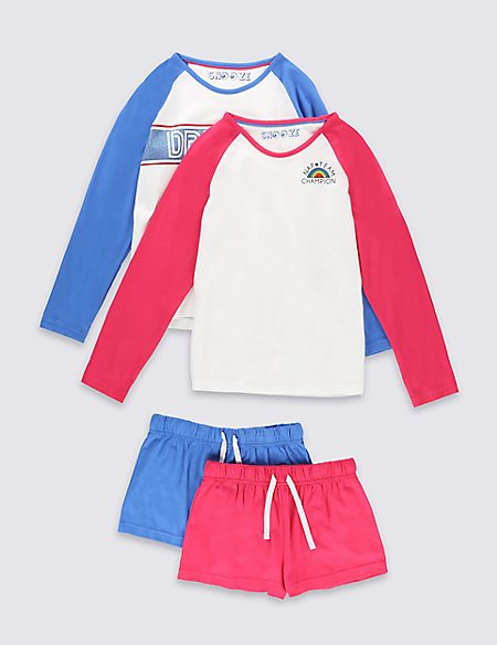 2 Pack Pure Cotton Assorted Short Pyjamas (6-16 Years)