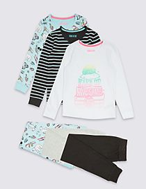 3 Pack Long Sleeve Pyjamas (3-16 Years)