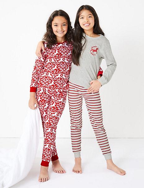2 Pack Unicorn Print Pyjama Set (3-16 Years)