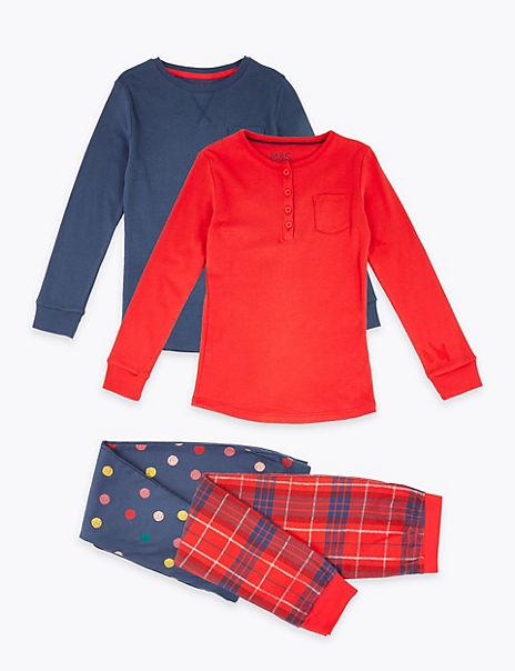 2 Pack Checked & Spot Print Pyjama Sets (3-16 Years)