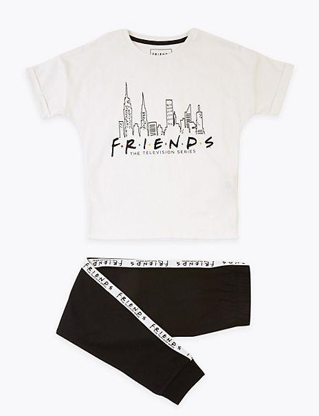 Pure Cotton Friends Slogan Pyjama Set (6-16 Yrs)