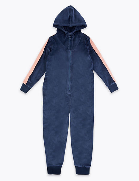 Velour Hooded Onesie (3-16 Years)