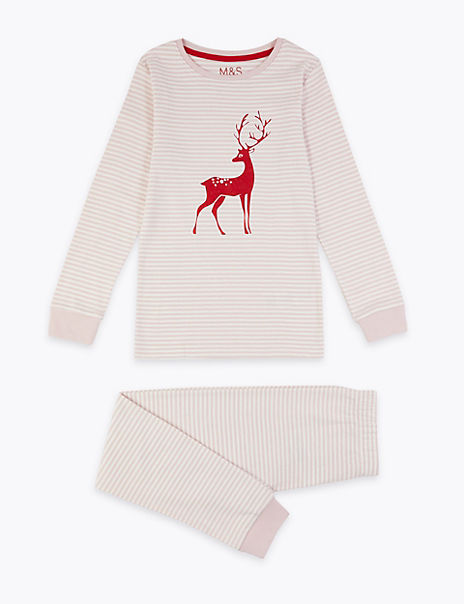 Cotton Striped Deer Print Pyjama Set (1-16 Years)