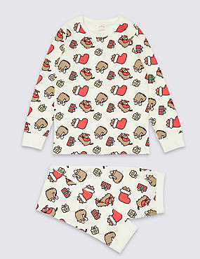 Cotton Pyjamas with Stretch (9-16 Years), RED MIX, catlanding