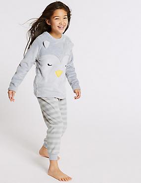 Penguin Fleece Pyjamas (1-16 Years), RED, catlanding