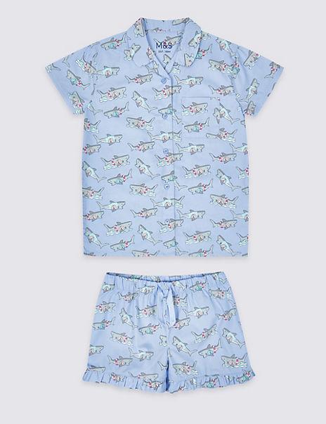 Pure Cotton Woven Short Pyjamas (3-16 Years)