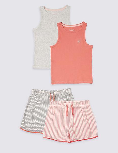 2 Pack Woven Short Pyjamas (3-16 Years)