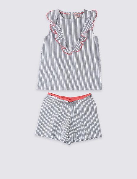 Pure Cotton Striped Short Pyjamas (3-16 Years)