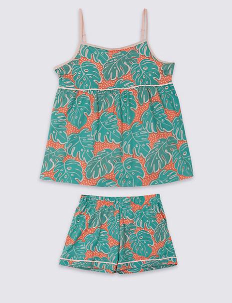 Pure Cotton Palm Print Short Pyjamas (3-16 Years)