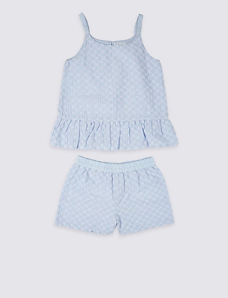 Pure Cotton Frill Short Pyjamas (3-16 Years)