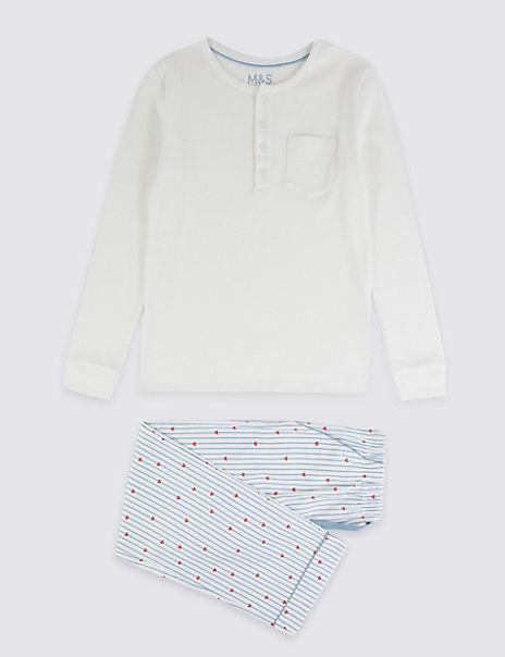 Heart And Stripe Print Pyjama Set (3-16 Years)
