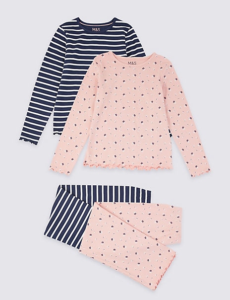2 Pack Cotton Floral & Striped Pyjama Set (3-16 Years)