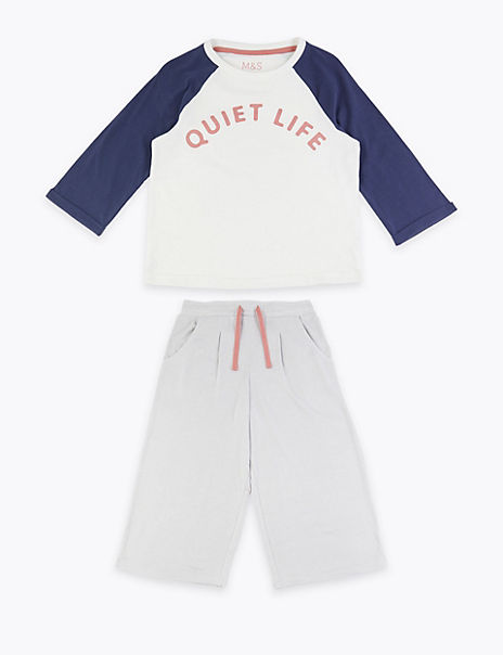 Quiet Life Slogan Cropped Lounge Pyjama Set (3-16 Years)