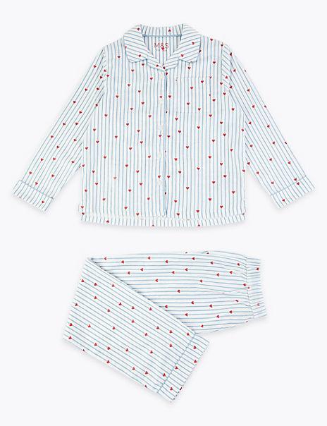 Striped Heart Print Pyjama Set (3-16 Years)