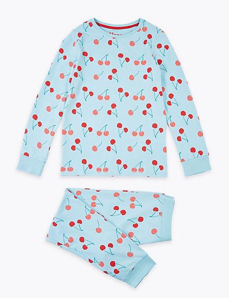 Cotton Rich Cherry Print Pyjamas (7-16 Years)