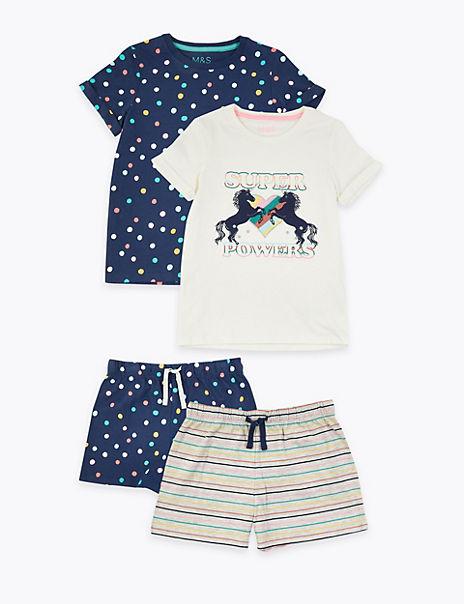 2 Pack Unicorn Print Short Pyjama Sets (6-16 Years)