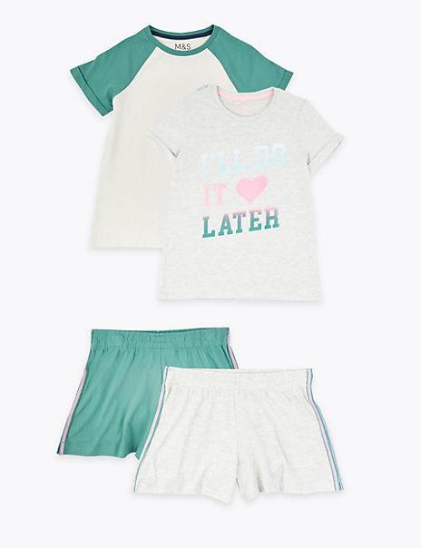 2 Pack I'll Do it Later Slogan Short Pyjamas Sets (6-16 Years)