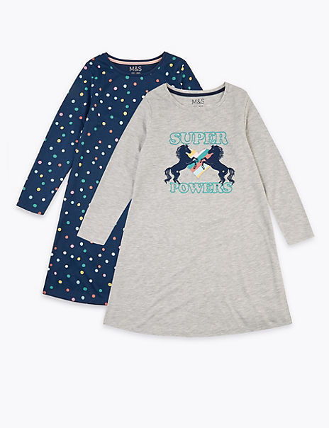 2 Pack Unicorn & Spotted Nightdresses (6-16 Years)