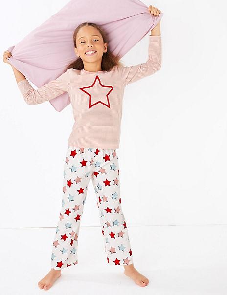 Cotton Jersey Star Print Pyjama Set (1-16 Years)