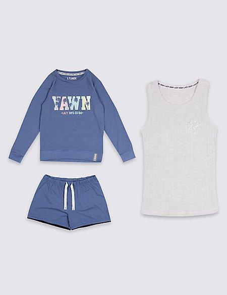 3 Piece Pyjamas with Vest (3-16 Years)