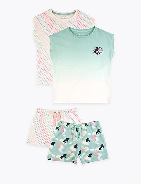 2 Pack Cotton Unicorn Short Pyjama Sets (6-16 Yrs)