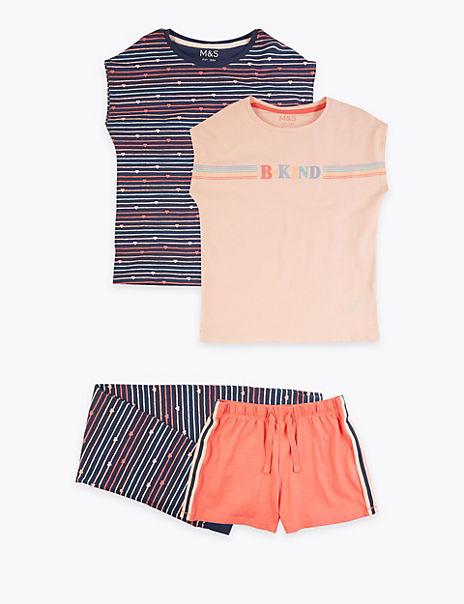 2 Pair Pack Cotton B Kind Slogan Pyjamas (6-16 Yrs)