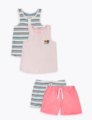 2pk Cotton Short Pyjama Sets (6-16 Yrs)