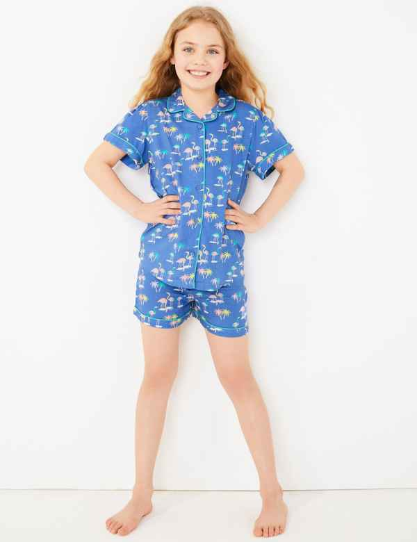 clp60438581: Flamingo Print Short Pyjama Set (6-16 Yrs)