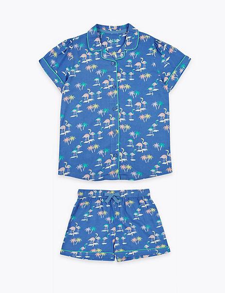 Flamingo Print Short Pyjama Set (6-16 Years)