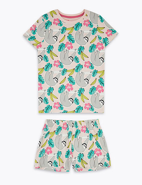 Cotton Rich Animal Print Short Pyjama Set (7-16 Yrs)