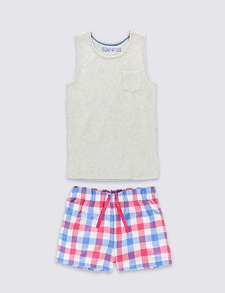 Pure Cotton Checked Short Pyjamas (6-16 Years)