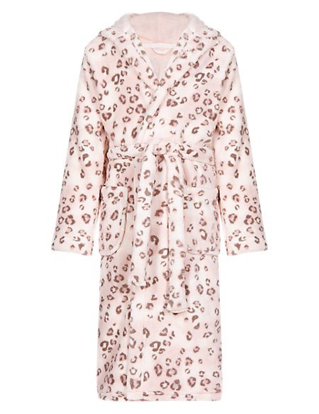 Anti Bobble Hooded Leopard Print Dressing Gown (6-16 Years) | M&S