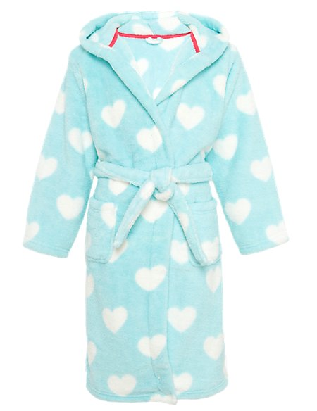 Hooded Heart Print Belted Dressing Gown with StayNEW™