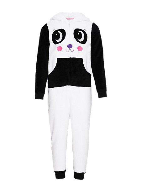 Hooded Panda Fleece Onesie (6-16 Years)