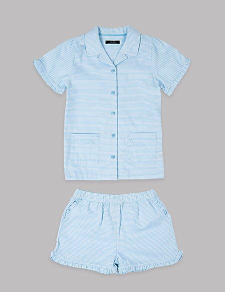 Pure Cotton Striped Short Pyjamas (1-16 Years)