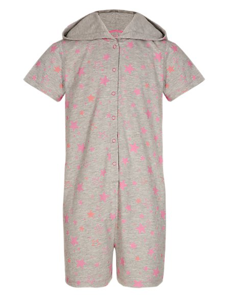 Hooded Star Print Soft & Cosy Playsuit (5-14 Years)