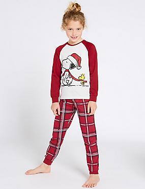 Snoopy Checked Pyjamas (7-16 Years), RED MIX, catlanding