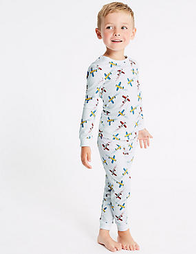 Cotton Pyjamas with Stretch (1-7 Years), WINTER WHITE, catlanding