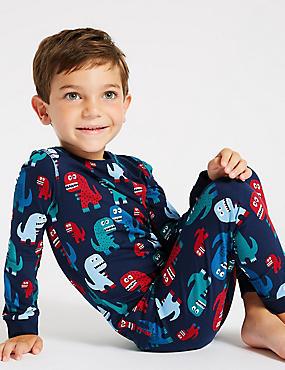 Cotton Pyjamas with Stretch (1-7 Years), KINGFISHER, catlanding