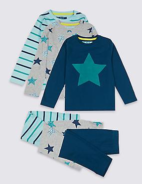 3 Pack Star Pyjamas (18 Months - 7 Years), SEA GREEN MIX, catlanding