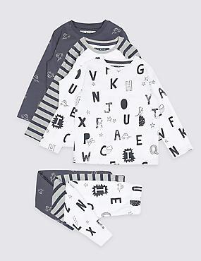3 Pack Cotton Rich Pyjamas (1-7 years), WHITE, catlanding