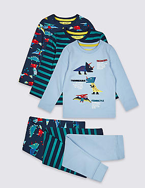 3 Pack Cotton Pyjamas with Stretch (1-7 Years), INDIGO, catlanding