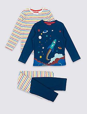 2 Pack Cotton Pyjamas (1-7 Years), INDIGO, catlanding