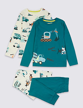 2 Pack Transport Pyjamas (1-7 Years), MULTI, catlanding